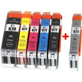 Canon PGI-670XL / CLI-671XL Compatible Value Pack + Grey
